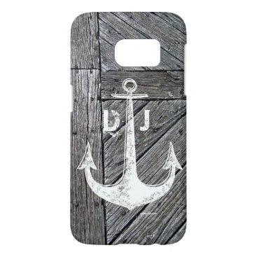 Rustic wood vintage anchor nautical monogram samsung galaxy s7 case