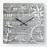 Rustic Wood Vintage Nautical Theme Life is Better Square Wall Clock