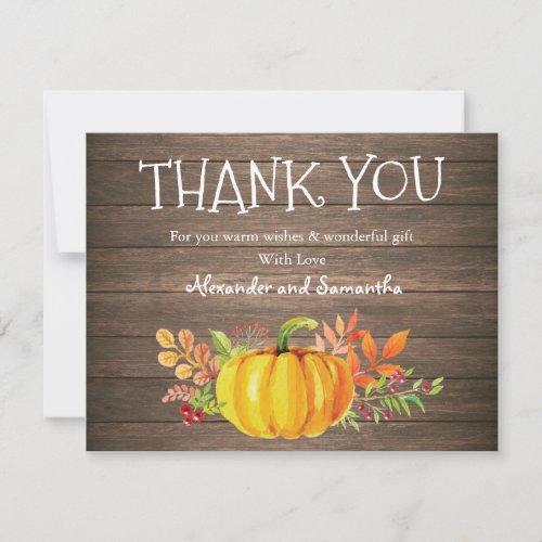 Rustic Wood Watercolor Pumpkin Fall Thank You Card