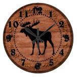 Rustic wooden moose circle wall clock