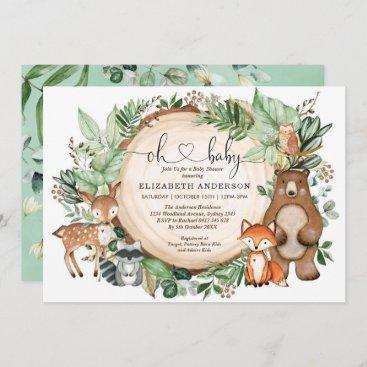 Rustic Woodland Animals Deer Fox Bear Baby Shower Invitation