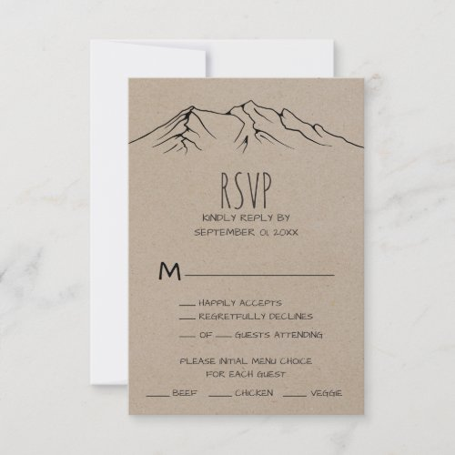 Rustic Woodsy Mountain Menu Choice RSVP Card