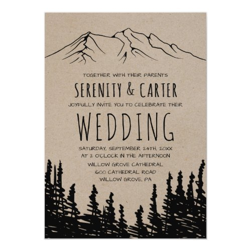 Rustic Woodsy Mountain Wedding Invitation