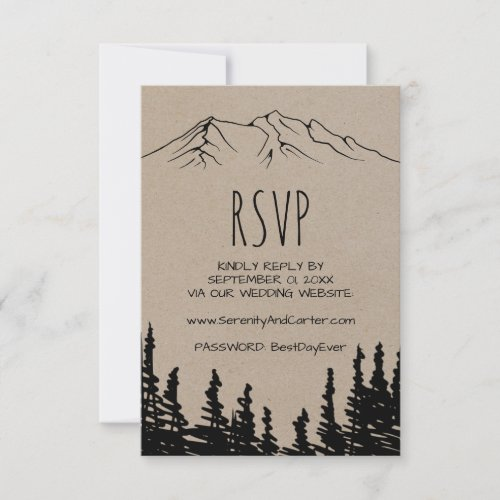 Rustic Woodsy Mountain Wedding Website RSVP Card