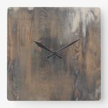 rustic,worn,wood,brown,wall,vintage,country,chic,s square wallclocks