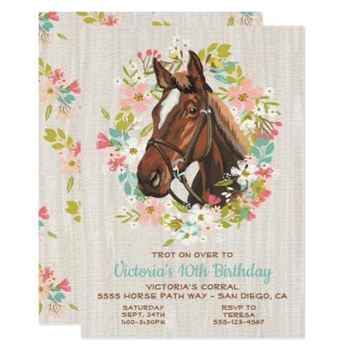 Rustic Wreath Horse Birthday Party Invitation