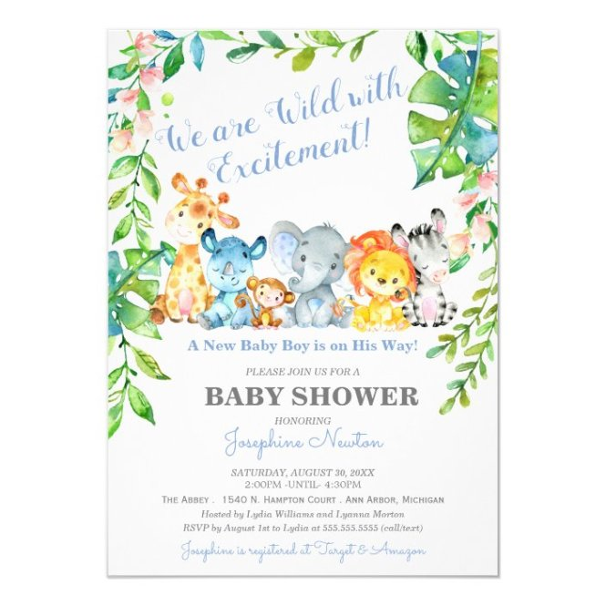 Wild Jungle Boy Baby Shower Invitation