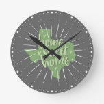 Sage Green and Gray Home Sweet Home - Texas Round Clock