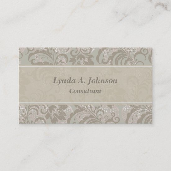 Sage Green Floral Pattern Professional Business Card
