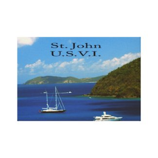 Sail Boat at Saint John Stretched Canvas Print