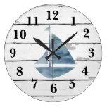Sailboat Nautical Blue Anchor Shiplap Rustic Decor Large Clock