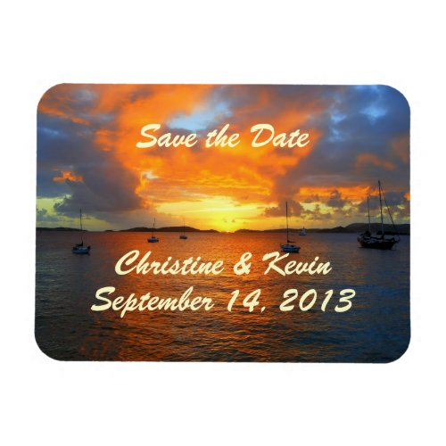 Sailboats at Sunset Save the Date Magnet premiumfleximagnet