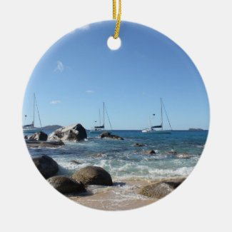 Sailing Boats at the Baths, BVI Christmas Ornament