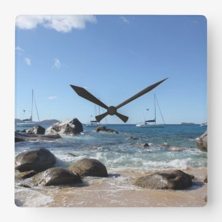 Sailing Boats at the Baths, BVI Wall Clock