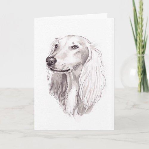 Saluki Dog Art Greeting Card