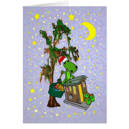 Santa Alligator Cajun Bayou Christmas Card Zazzle