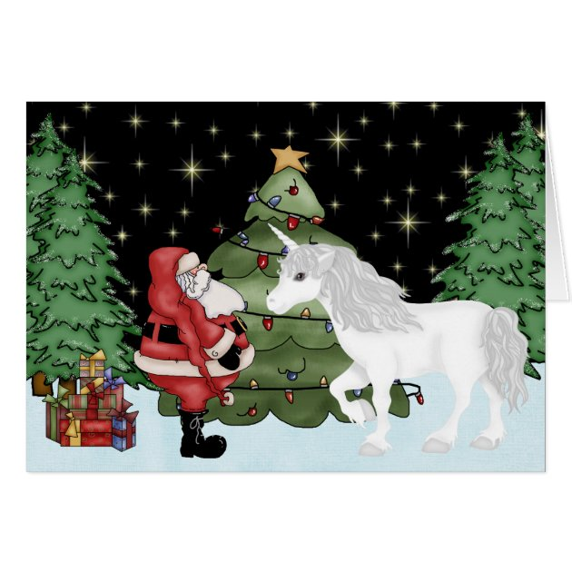 Santa And Unicorn Magical Christmas Holiday Card Zazzle