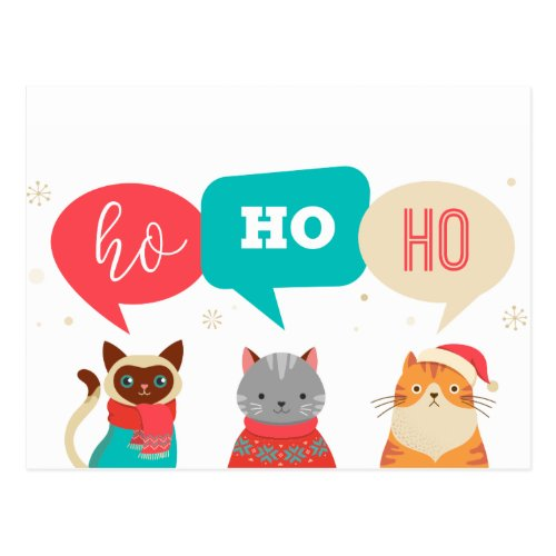 Santa cats postcard