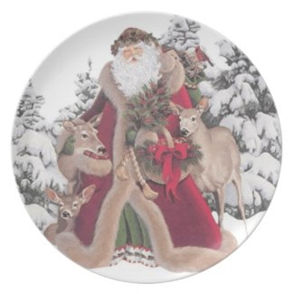 Santa Claus and Fawns Vintage Plate