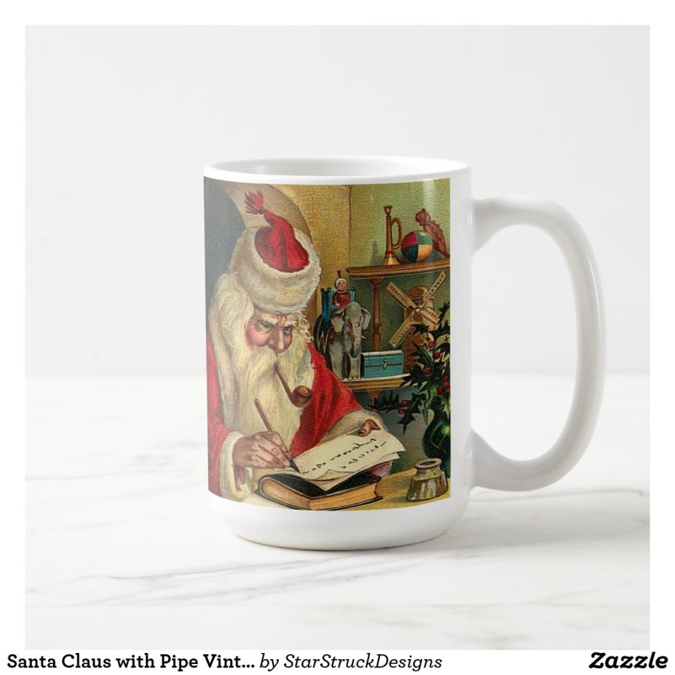 Santa Claus with Pipe Vintage Print Coffee Mug
