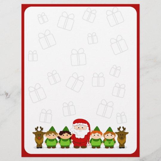 Santa Elves And Reindeer Christmas Letter Paper