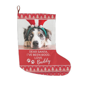 Santa Letter Nordic Pattern Dog Photo Large Christmas Stocking