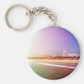 Santa Monica Beach - Green Purple Photo Edit Keychain