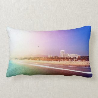 Santa Monica Beach - Green Purple Photo Edit Throw Pillow
