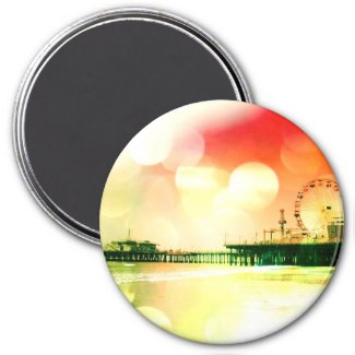 Santa Monica Pier - Bursting Colors Photo Edit Refrigerator Magnet