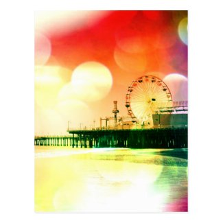 Santa Monica Pier - Bursting Colors Photo Edit Postcards