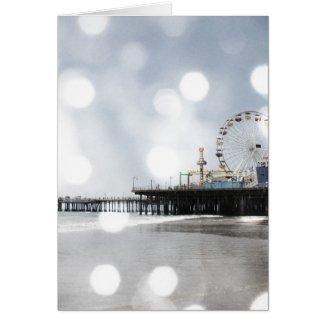 Santa Monica Pier - Grey Sparkles Photo Edit Greeting Card