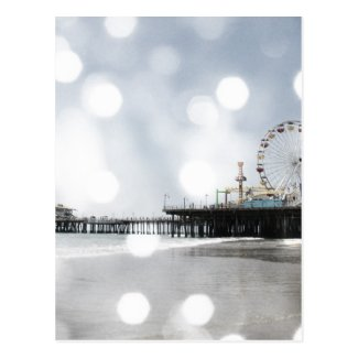 Santa Monica Pier Grey Sparkles Photo Edit Post Card