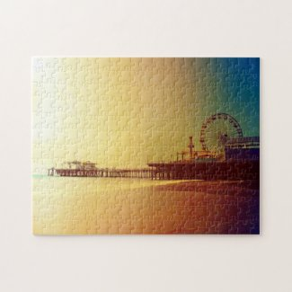 Santa Monica Pier - Orange Sunrise Photo Edit Puzzle