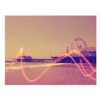 Santa Monica Pier Pink Lightning Edit Postcard