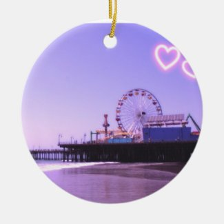 Santa Monica Pier Purple Hearts Ornaments