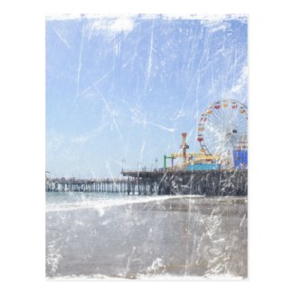 Santa Monica Pier - Shabby Chic Photo Edit Postcards