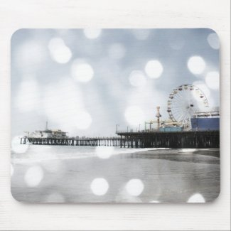 Santa Monica Pier - Silver Grey Sparkles Photo Edi Mouse Pads