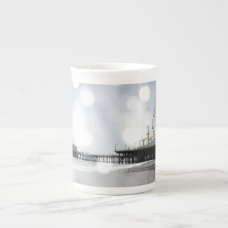 Santa Monica Pier - Silver Grey Sparkles Photo Edi Porcelain Mugs