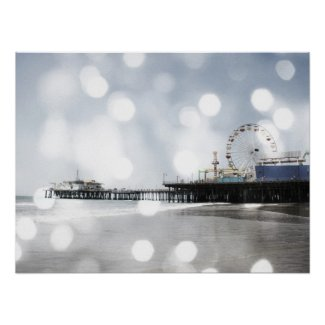 Santa Monica Pier Silver Grey Sparkles Photo Edit Print