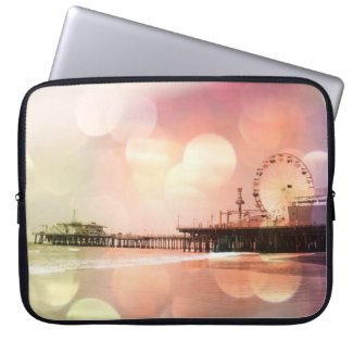 Santa Monica Pier - Sparkling Pink Photo Edit Laptop Computer Sleeves