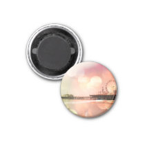 Santa Monica Pier - Sparkling Pink Photo Edit Fridge Magnets