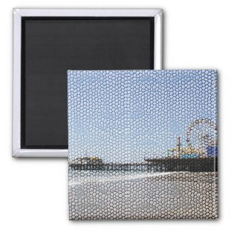 Santa Monica Pier - Stone Mosaic Photo Edit Magnets
