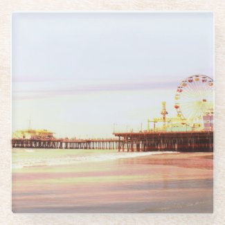 Santa Monica Pier Sunrise Glass Coaster