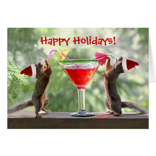 Santa Squirrels Drinking A Cocktail Card Zazzle