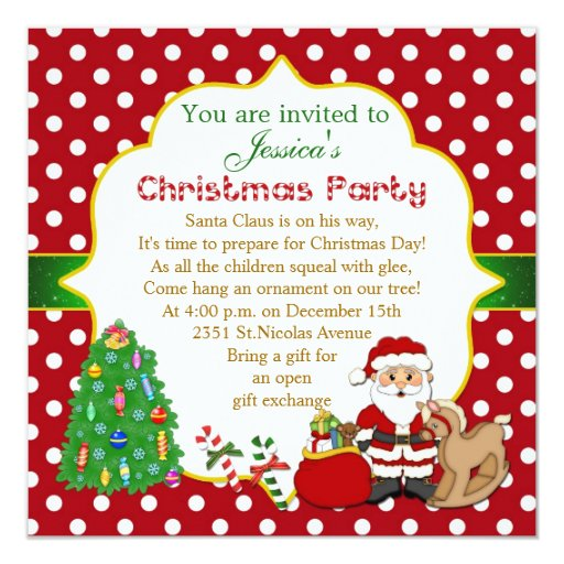 Santa Tree Rocking Horse Kids Christmas Party Card Zazzle