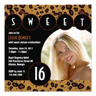 Sassy Leopard Sweet Sixteen Photo Invite [Brown]
