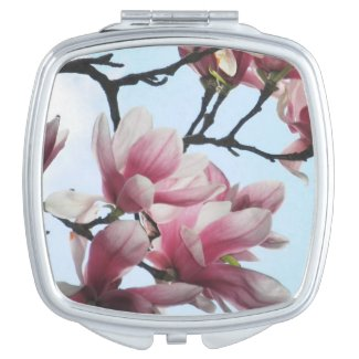 Saucer Magnolia Pink Tulip Tree Flowers Floral Mirror For Makeup