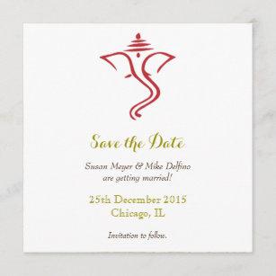 Save Date Wedding Red Gold Ganpati Ganesh Hindu The