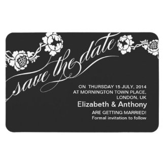 save the date chic black and white damask magnets