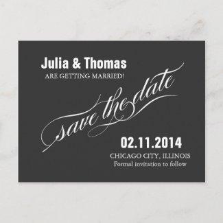 save the date elegant vintage postcard